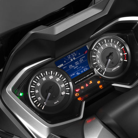 Detailní pohled na přístroje modelu Honda Forza300